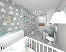 Mieszkanie 60 m2 Mińsk Mazowiecki - Średni szary pokój dziecka dla chłopca dla dziewczynki dla niemowlaka, styl skandynawski - zdjęcie od LUXURY INTERIOR