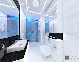 Łazienka z fototapetą - Średnia biała czarna łazienka w bloku w domu jednorodzinnym bez okna, styl nowoczesny - zdjęcie od LUXURY INTERIOR