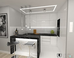 Salon z aneksem w mieszkaniu 70m2 - Mała otwarta biała szara kuchnia w kształcie litery g, styl nowoczesny - zdjęcie od LUXURY INTERIOR