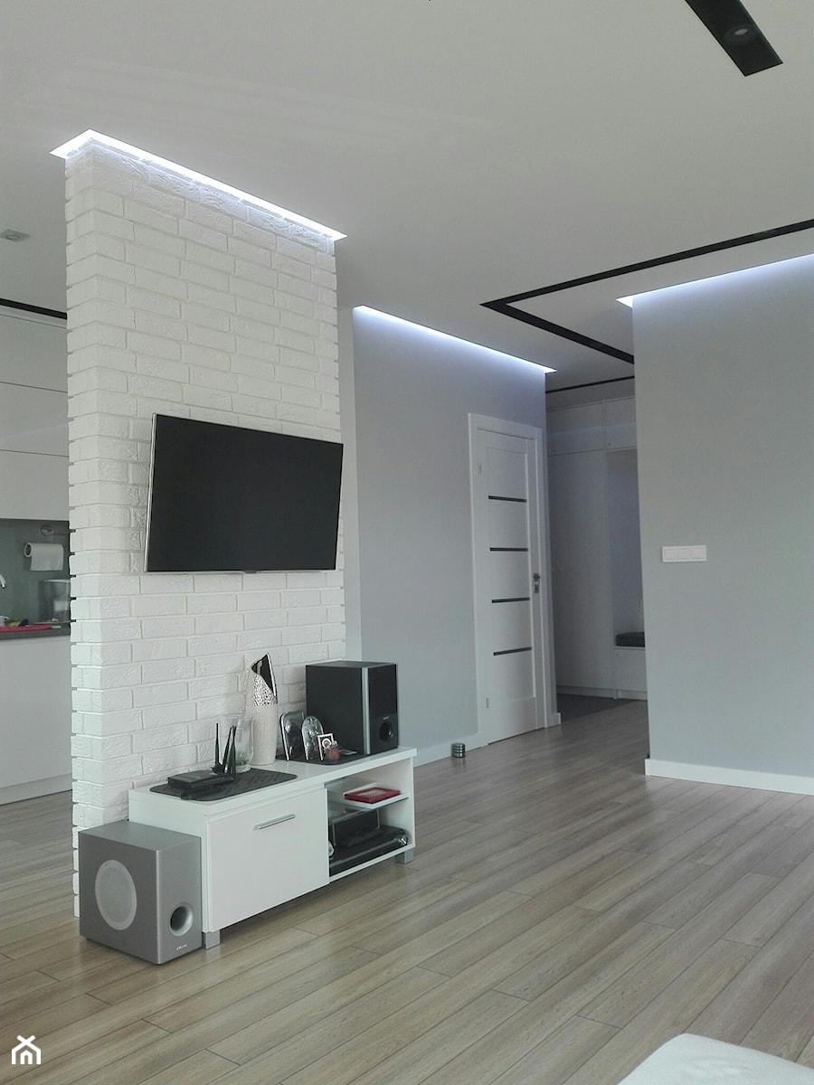 Mieszkanie Lublin - Szary salon z kuchnią, styl nowoczesny - zdjęcie od IZ-KAM Profesjonalne usługi remontowo-wykończeniowe