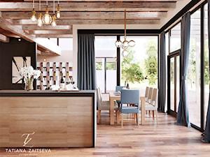 Designe domu - wnętrze w stylu EKO - Średnia otwarta szara czarna kuchnia jednorzędowa w aneksie z wyspą z oknem, styl art deco - zdjęcie od Tz_interior