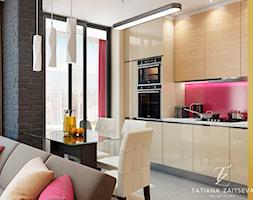 Design projekt w nowoczesnym stylu - Mała otwarta żółta jadalnia w kuchni w salonie - zdjęcie od Tz_interior