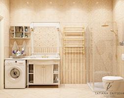 Projekt mieszkania - Mała beżowa łazienka w bloku w domu jednorodzinnym bez okna, styl prowansalski - zdjęcie od Tz_interior