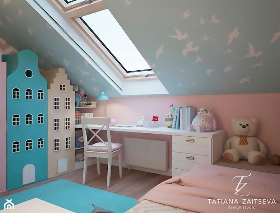 Designe wnętrza - Komfort - Mały różowy niebieski pokój dziecka dla dziewczynki dla ucznia dla malucha dla nastolatka, styl nowoczesny - zdjęcie od Tz_interior
