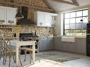 Średnia otwarta beżowa kuchnia w kształcie litery l w aneksie z oknem, styl tradycyjny - zdjęcie od zov
