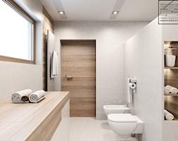 Biel i drewno w łazience - zdjęcie od Kwadrat Design Studio