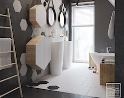Łazienka z heksagonami w roli głównej - zdjęcie od Kwadrat Design Studio