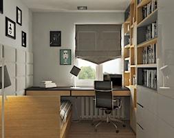 Pokój nastolatka w szarościach i drewnie - zdjęcie od Kwadrat Design Studio