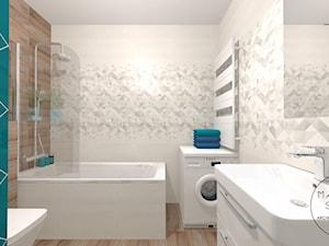 ŁAZIENKA Z TURKUSEM - Mała niebieska szara łazienka w bloku w domu jednorodzinnym bez okna, styl skandynawski - zdjęcie od MANIANAstudio