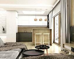 Pokój dzienny z aneksem kuchennym, miedziane lampy, grafiowa kuchnia - zdjęcie od OroConcept Anna Orowiecka-Stanisławska