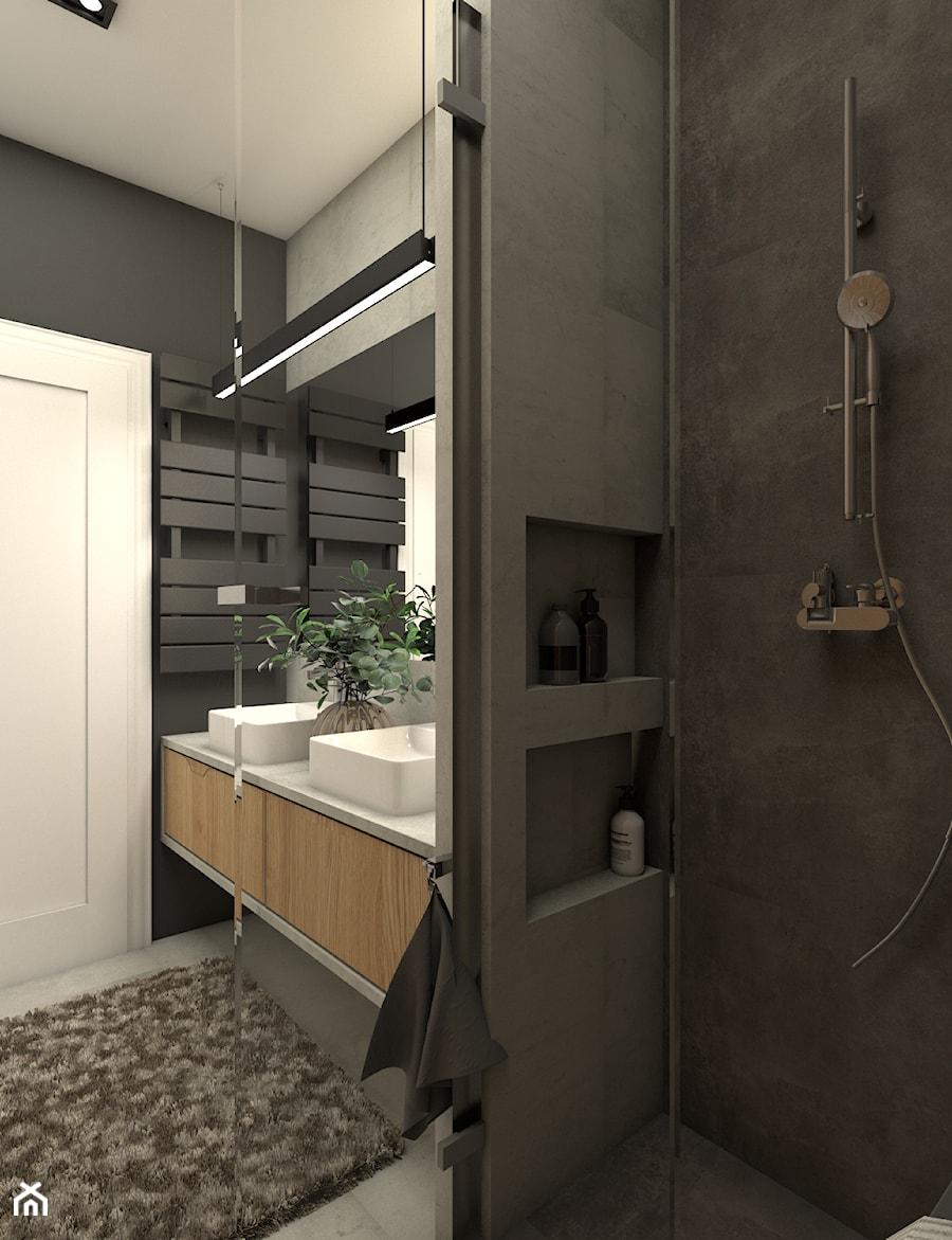 Szara łazienka z dwiema umywalkami - zdjęcie od OroConcept Anna Orowiecka-Stanisławska