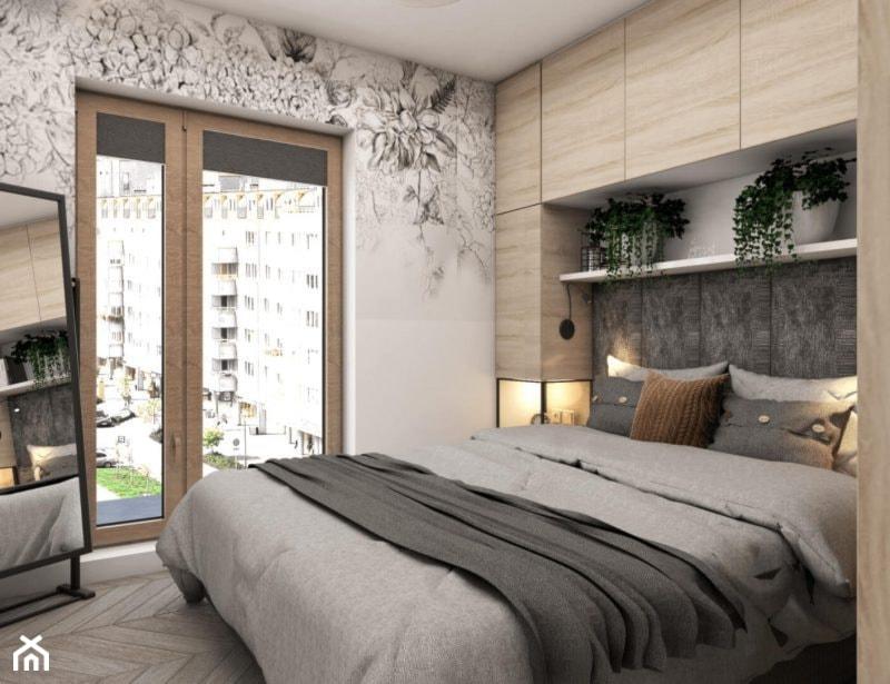 Sypialnia Zabudowa Nad łóżkiem Tapeta W Kwiaty Zdjęcie