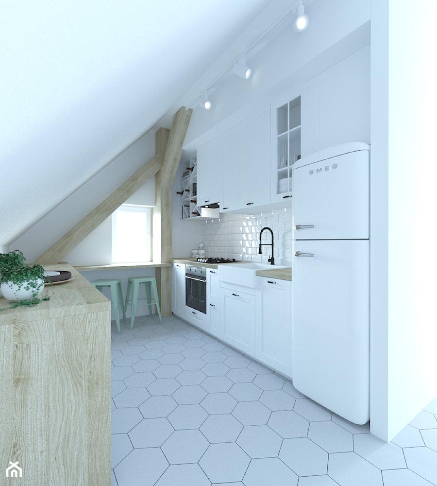 Aranżacje wnętrz - Kuchnia: Mieszkanie w Oleśnicy 86m2 - Średnia zamknięta biała kuchnia w kształcie litery u z oknem, styl skandynawski - 3droom. Przeglądaj, dodawaj i zapisuj najlepsze zdjęcia, pomysły i inspiracje designerskie. W bazie mamy już prawie milion fotografii!
