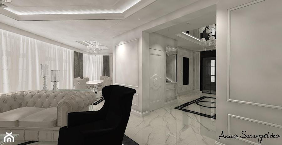 parter domu w stylu glamour - Biały salon z jadalnią, styl glamour - zdjęcie od conceptforhome