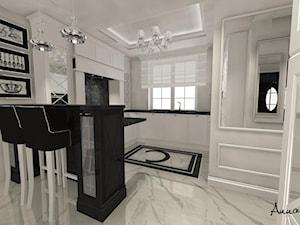 parter domu w stylu glamour - Duża otwarta szara kuchnia w kształcie litery u z oknem, styl glamour - zdjęcie od conceptforhome