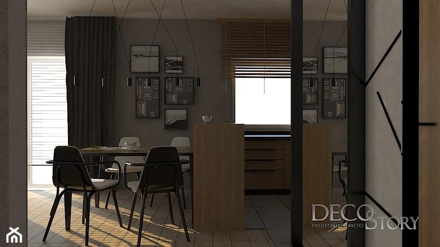 kuchnia i salon w czerni i dębie - zdjęcie od decostory
