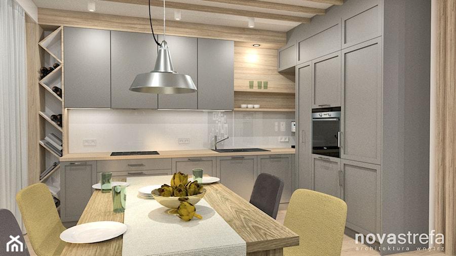 Dom - Duża zamknięta kuchnia w kształcie litery l z oknem, styl skandynawski - zdjęcie od Novastrefa - Architektura Wnętrz
