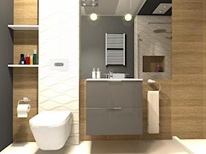 Łazienka w drewnie - Mała biała czarna brązowa łazienka na poddaszu w bloku w domu jednorodzinnym bez okna - zdjęcie od Dobry Plan