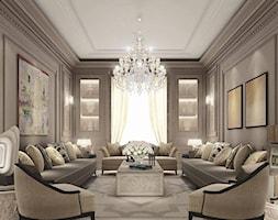 Lampy - Duży szary salon, styl glamour - zdjęcie od Dekoridum - Homebook