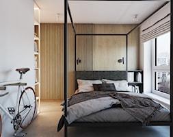Roomba - Średnia beżowa biała sypialnia małżeńska, styl minimalistyczny - zdjęcie od EDYCJA studio - Homebook