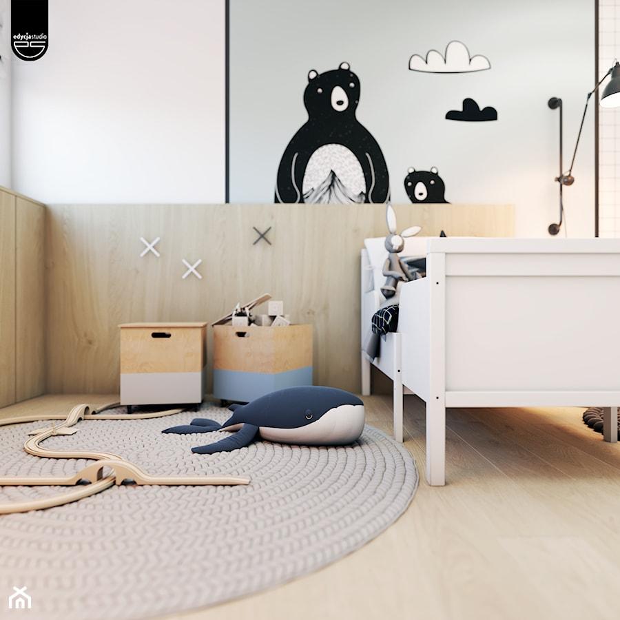 Złotniki - Mały biały pokój dziecka dla chłopca dla dziewczynki dla malucha, styl nowoczesny - zdjęcie od EDYCJA studio