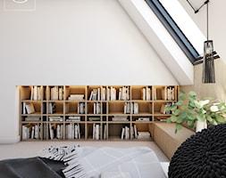 Origami - Mała biała sypialnia małżeńska na poddaszu, styl minimalistyczny - zdjęcie od EDYCJA studio