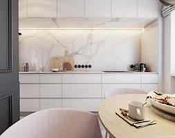Opposites attract - Mała otwarta biała kuchnia jednorzędowa z oknem, styl eklektyczny - zdjęcie od EDYCJA studio