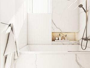 Opposites attract - Biała łazienka w bloku w domu jednorodzinnym z oknem, styl eklektyczny - zdjęcie od EDYCJA studio
