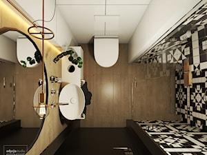Origami - Mała biała czarna łazienka na poddaszu w bloku w domu jednorodzinnym bez okna - zdjęcie od EDYCJA studio