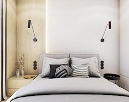 The beginning - Mała beżowa biała sypialnia małżeńska, styl nowoczesny - zdjęcie od EDYCJA studio - Homebook