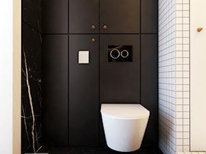 Navy is the new black - Mała biała czarna łazienka na poddaszu w bloku w domu jednorodzinnym bez okna, styl klasyczny - zdjęcie od EDYCJA studio