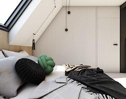 Origami - Mała biała czarna sypialnia małżeńska na poddaszu, styl minimalistyczny - zdjęcie od EDYCJA studio