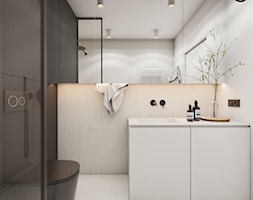 Roomba - Mała czarna szara łazienka w bloku w domu jednorodzinnym bez okna, styl minimalistyczny - zdjęcie od EDYCJA studio - Homebook