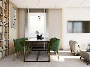 Industrial vibe - Średnia otwarta biała beżowa jadalnia w salonie, styl nowoczesny - zdjęcie od EDYCJA studio
