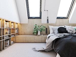 Origami - Średnia biała sypialnia małżeńska na poddaszu, styl minimalistyczny - zdjęcie od EDYCJA studio