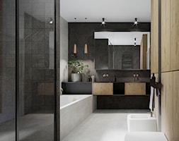 Łazienka w domu pod Warszawą - Średnia czarna szara łazienka w bloku bez okna, styl nowoczesny - zdjęcie od mallumo - Homebook