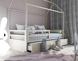 Pokój dziecka dla dziewczynki - Mały szary pokój dziecka dla chłopca dla dziewczynki dla ucznia dla malucha, styl minimalistyczny - zdjęcie od MINIMAL.