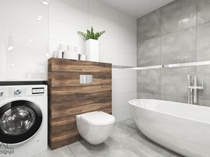 Projekt łazienki - Średnia łazienka w bloku w domu jednorodzinnym bez okna, styl nowoczesny - zdjęcie od MINIMAL.