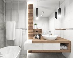 Projekt łazienki - Mała łazienka w bloku w domu jednorodzinnym bez okna, styl nowoczesny - zdjęcie od MINIMAL.