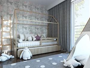 MIESZKANIE II - Mały biały szary pokój dziecka dla chłopca dla dziewczynki dla malucha, styl nowoczesny - zdjęcie od MINIMAL.
