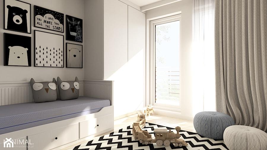 Aranżacje wnętrz - Pokój dziecka: Mieszkanie I - Mały biały pokój dziecka dla chłopca dla dziewczynki dla malucha dla nastolatka, styl nowoczesny - MINIMAL.. Przeglądaj, dodawaj i zapisuj najlepsze zdjęcia, pomysły i inspiracje designerskie. W bazie mamy już prawie milion fotografii!