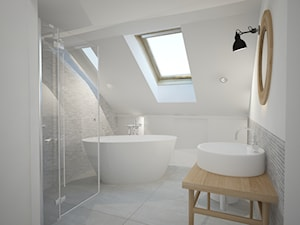 Mieszkanie w Poznaniu III - Średnia biała szara łazienka na poddaszu w domu jednorodzinnym jako salon kąpielowy z oknem, styl skandynawski - zdjęcie od Home Plan projektowanie wnętrz Joanna Mielczarek
