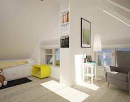 Poddasze dla dzieci - Średni beżowy pokój dziecka dla dziewczynki dla malucha, styl skandynawski - zdjęcie od Home Plan projektowanie wnętrz Joanna Mielczarek