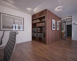 Kancelaria - Duże białe biuro pracownia w pokoju - zdjęcie od Home Plan projektowanie wnętrz Joanna Mielczarek