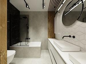 Apartament z ukrytymi drzwiami - Średnia biała czarna szara łazienka bez okna, styl minimalistyczny - zdjęcie od Reforma Domu