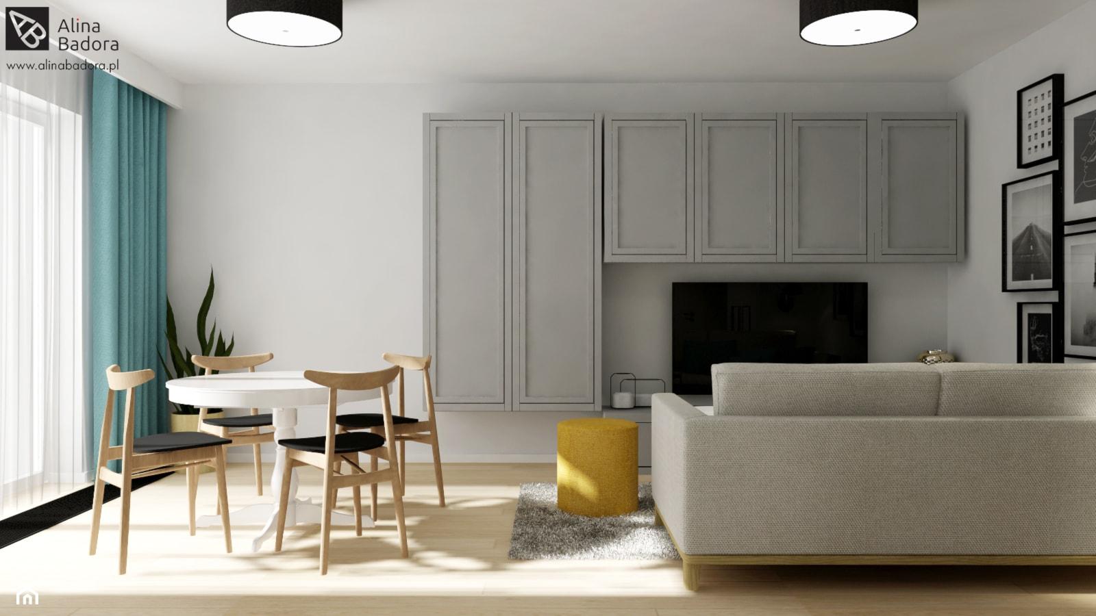 Pastelowy salon ze strefą jadalną - zdjęcie od Alina Badora Pracownia Architektury Wnętrz - Homebook