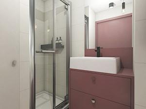 MINImum powierzchni, MAXImum funkcjonalności - Mała biała brązowa łazienka w bloku w domu jednorodzinnym bez okna - zdjęcie od Projekt MIMO