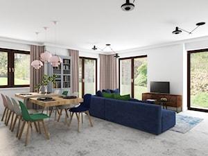 GÓRA KALWARIA - Średni biały salon z bibiloteczką z jadalnią z tarasem / balkonem - zdjęcie od Projekt MIMO