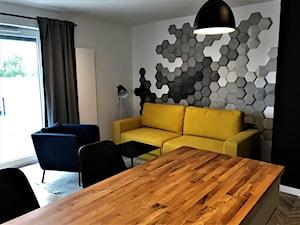 Realizacja - kuchnia na Nowych Żernikach - Średni szary biały salon z jadalnią, styl nowoczesny - zdjęcie od DekoDeko