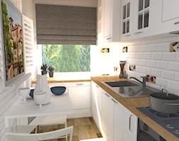 Mieszkanie (Lubliniec) - Mała zamknięta wąska biała kuchnia jednorzędowa z oknem, styl włoski - zdjęcie od Agnieszka Buchta-Swoboda Design